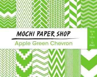 Green Chevron Paper Download, Green Digital Paper, 12 Chevron Designs, Green Zig Zag Backgrounds, Chevron Scrapbook. Green Chevron PNG Files