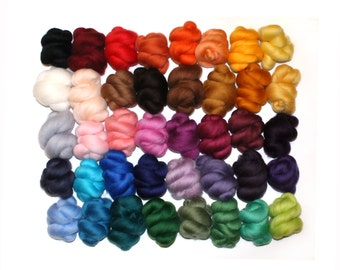40 Colours x 5g (200g), Needle and Wet Felting Wool, Merino Wool Tops