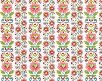 Blend Fabrics - Ribbon Bloom White - Riding Hood Collection - 114.109.02.2
