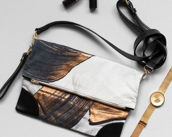 Glimmer Clutch - Printed Cotton Fold Over Clutch with Leather