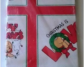 """On Sale Vintage and NEW, American Greetings """"Ziggy Christmas"""" Paper Table Cloth, 54"""" x 96"""" Tablecloth, Red/White/Green, New Sealed Package"""