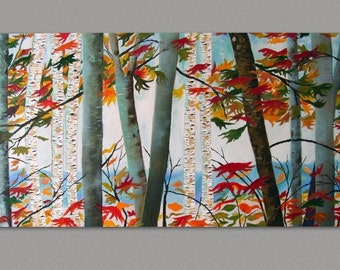 Original Birch Painting CLEARANCE Autumn Birch Forest Contemporary Painting Aspen Tree Landscape Wall Art Ready to Hang Art by Susie Tiborcz