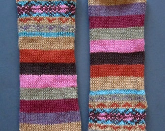 Wool Knit Striped Fair Isle Fingerless Gloves