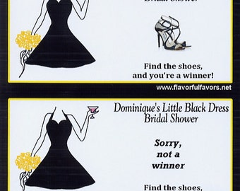 Little Black Dress birthday shower or bachelorette personalized party favors scratch off tickets -set of 10