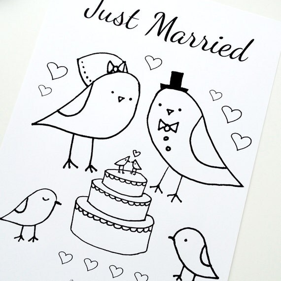 Wedding Coloring Page Just Married Love Birds Theme