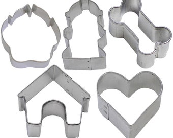 5 Piece Mini Dog Treat Cookie Cutter Set Bone Paw House