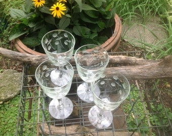 Antique Crystal Wine Glasses or water goblets - cut and etched -- set of 4