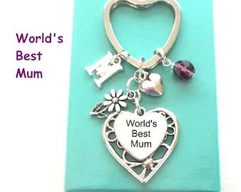 World's Best Mum keyring - Gift for Mum - Daisy keyring - Personalised Mother's Day gift - Mum gift - Birthstone keyring - Etsy UK