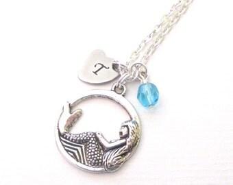 Flower girl necklace - Flower girl jewelry - Personalised mermaid necklace - Flower girl gift - Mermaid charm necklace - Beach wedding