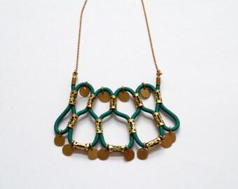 Necklace green Delacroix in elastic