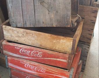Vintange crates Coke, Coca Cola, PepsiCo, apple crates, storage, photo props photography
