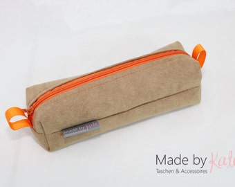 pencil case, make-up bag, small bag, faux alcantara bag,