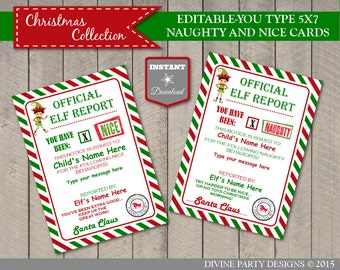 INSTANT DOWNLOAD Editable Printable Elf 5x7 Naughty and Nice Reports / Signed by Santa / Christmas Shop / Item #3060