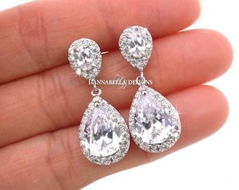 Bethany - CZ Wedding Earrings, Bridal Earrings, Crystal Teardrop Earrings, Cubic Zirconia Earrings, Rhinestone Bridesmaids Gift