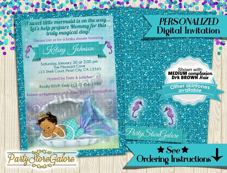 mermaid baby shower invitation little mermaid under the sea