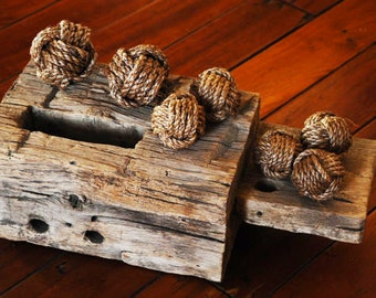 7 Monkey's Fist Knots - Nautical Decor - Rope Knots - Nautical Gifts - Manila Rope Knots -