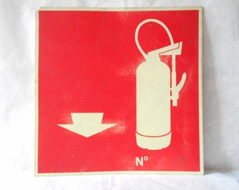 Vintage Fire Extinguisher Sign, Industrial Sign Home Decor, Red and White.