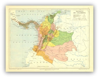 Colorful Map Print of Colombia,  Reproduction of an Antique Map,  Poster