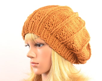 brown knit hat winter woman knitted basque beret rust brown womens winter hat gift for her Christmas, gift idea wool