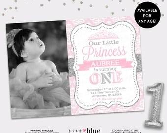 Princess Birthday Invitation Silver Glitter Pink Damask First Birthday Little Princess Invite Girl Birthday Invite - Printable Digital File