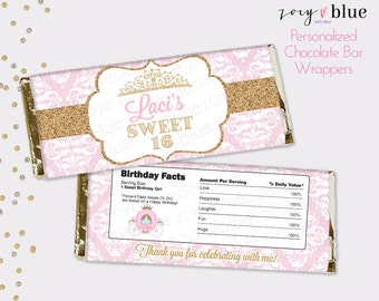 Sweet 16 Chocolate Bar Wrapper - Pink Gold Princess Birthday Favor Candy Bar Wrap - Quinceanera sweet sixteen - Printable Digital File