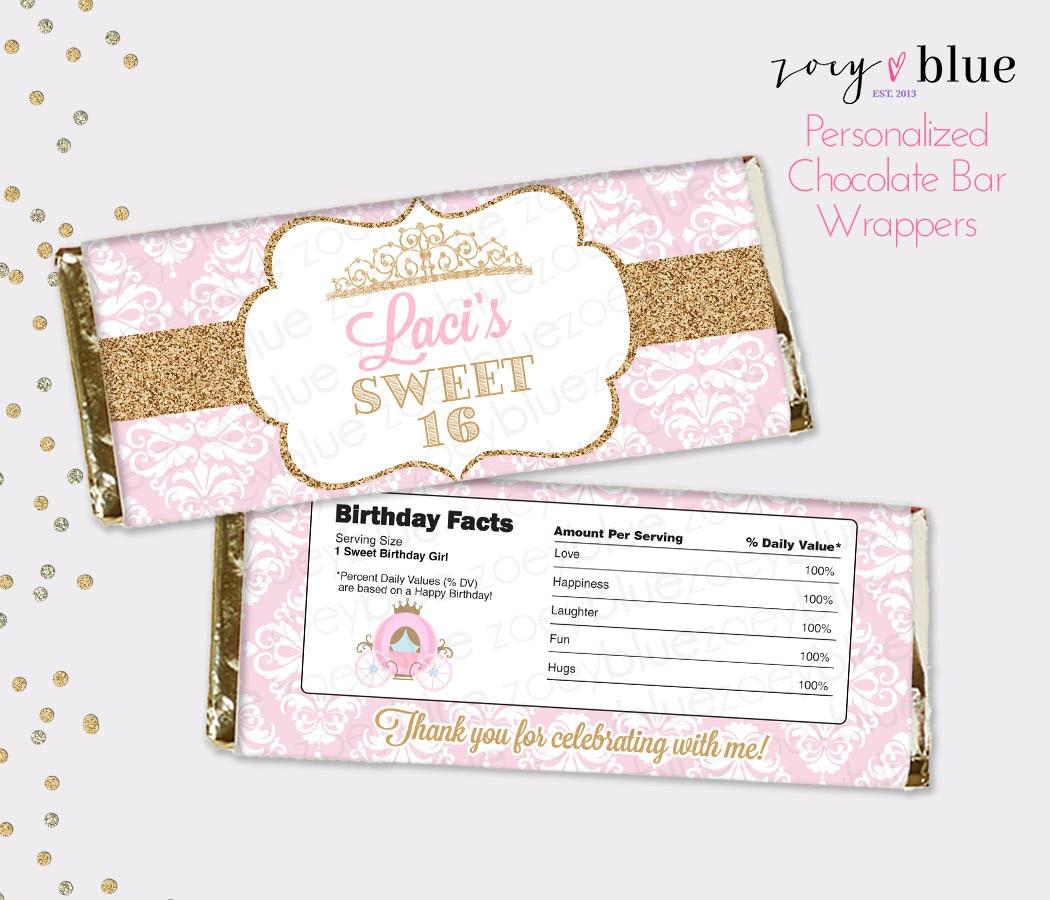 Sweet 16 Chocolate Bar Wrapper Pink Gold Princess Birthday