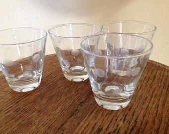Vintage (4) Large Double Shot Glasses Etched Polka Dot 4 ounce - Nice condition