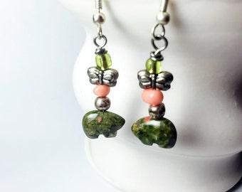 Unakite - Alaska Jewelry, Bear Earrings, Unakite, Unakite Jewelry