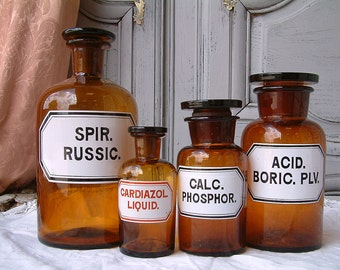Set of 4 Antique French amber glass apothecary jar / pharmacy bottle collection. LARGE to small size. Enamel labels