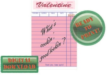 Diner Check Valentine Card What's Cookin' Good Lookin'? Pink Party Tag Scrapbook File