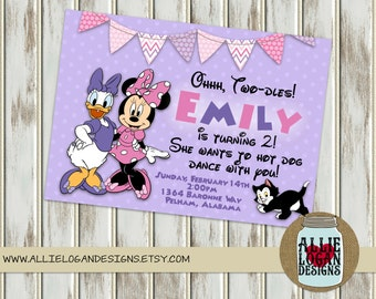 Minnie Mouse and Daisy Birthday Invitations - Digital or Printed!