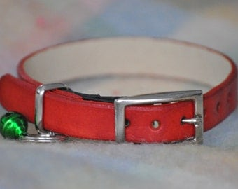 Monty Selection Red Leather Cat Collar