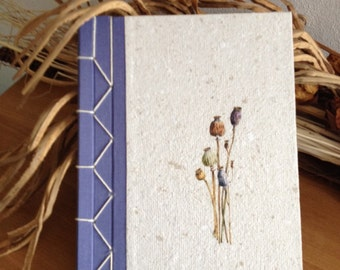 Diary bound by hand from recycled paper
