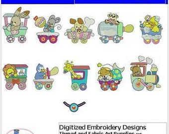 Embroidery Design CD - Little Train(1) - 11 Designs - 9 Formats - Threadart