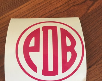 Circle Monogram Decal for Yeti, Ozark Trail, Rtic, Notebook