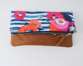 FOLDOVER CLUTCH, Striped bag, everyday casual clutch,  leather clutch, fold over clutch, iPad sleeve, kindle case