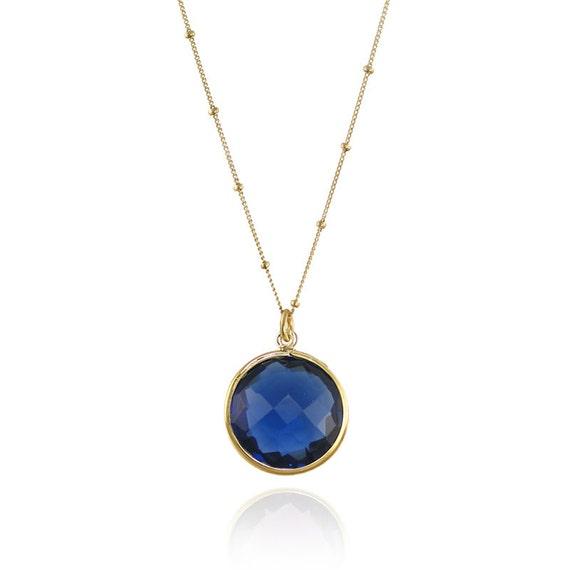 blue quartz necklace gemstone charm necklace