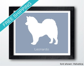 Personalized American Eskimo Dog Silhouette Print with Custom Name