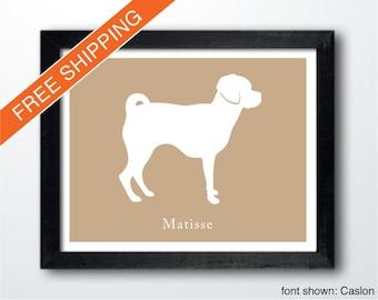 Personalized Puggle Silhouette Print with Custom Name - puggle art, puggle portrait, modern dog home decor