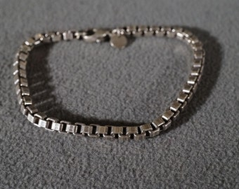 Vintage Sterling Silver Authentic Designer Signed Tiffany And Company Woven Square Chain Link Bracelet   #848    **RL