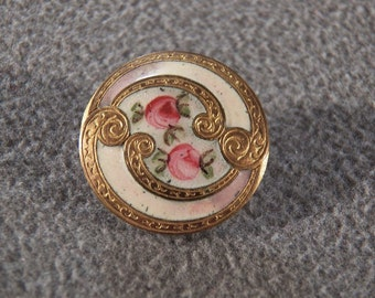 Vintage Fancy French Champleve Enameled Button Jewelry **RL