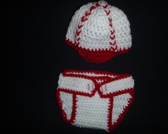 Baby Boy baseball diaper cover and matching hat-newborn
