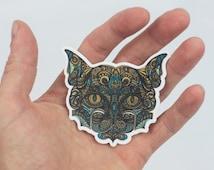 Cat Stickers, Pet Cat Laptop Stickers, Original Drawing Trippy Cat Art, Laptop Sticker, Bumper Sticker, Kitten Sticker, Cat Lover