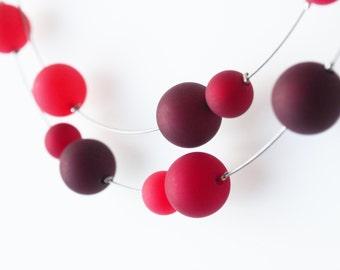 red necklace bordeaux statement polaris necklace