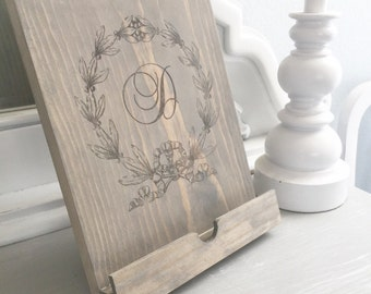 Personalized Rustic Wooden iPad Stand; kitchen stand; tablet stand; wooden ipad stand; wedding gift; bridal shower gift; ipad stand