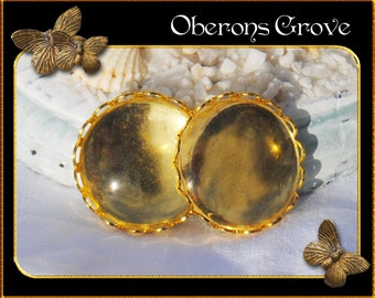 10  gold settings with 20mm cabochons