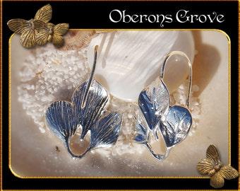 6 light silver leaf earhooks