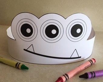 Monster Three Eye Crown COLOR YOUR OWN - Printable