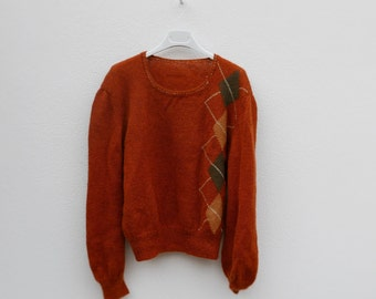 Vintage sweater 90 years with orange sherd