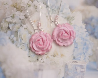 earrings romantic pink roses